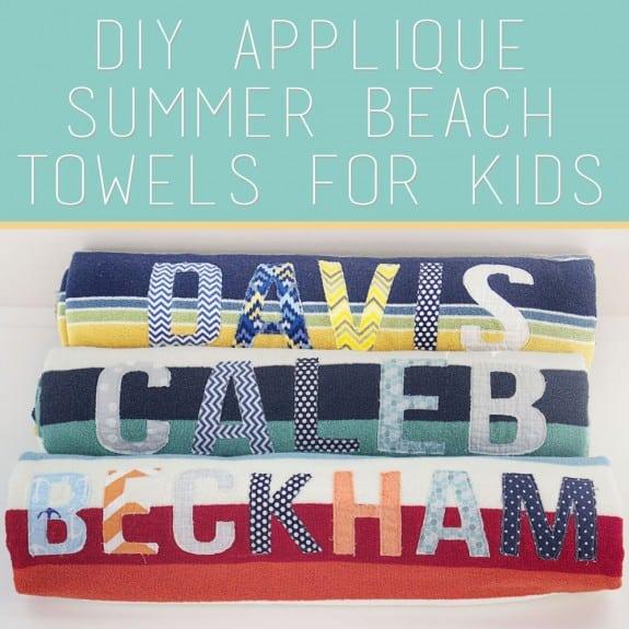 DIY Applique Name Beach Towels