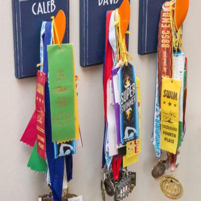 DIY Swim Ribbon Award Holder