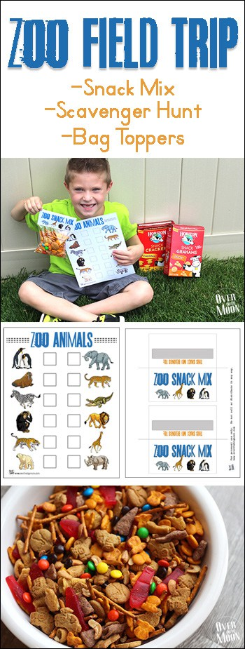 Kids snack mix with zoo scavenger hunt