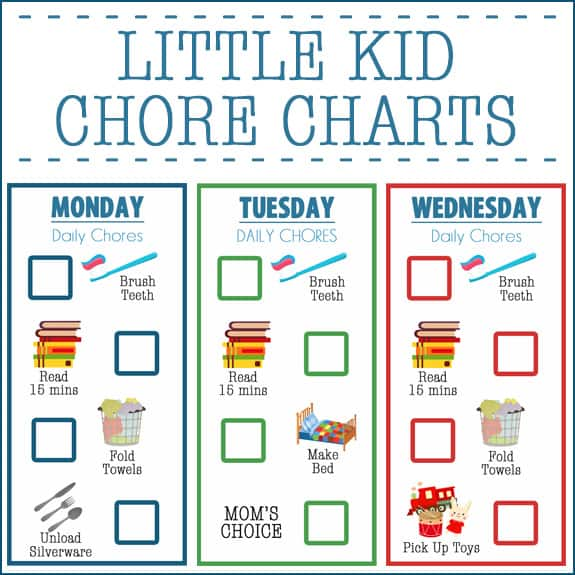Little kid chore charts ages 2 4 over the big moon