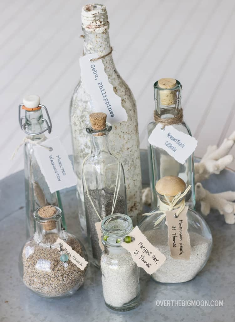 Beach vacation memory bottles for Best way to sand glass bottles