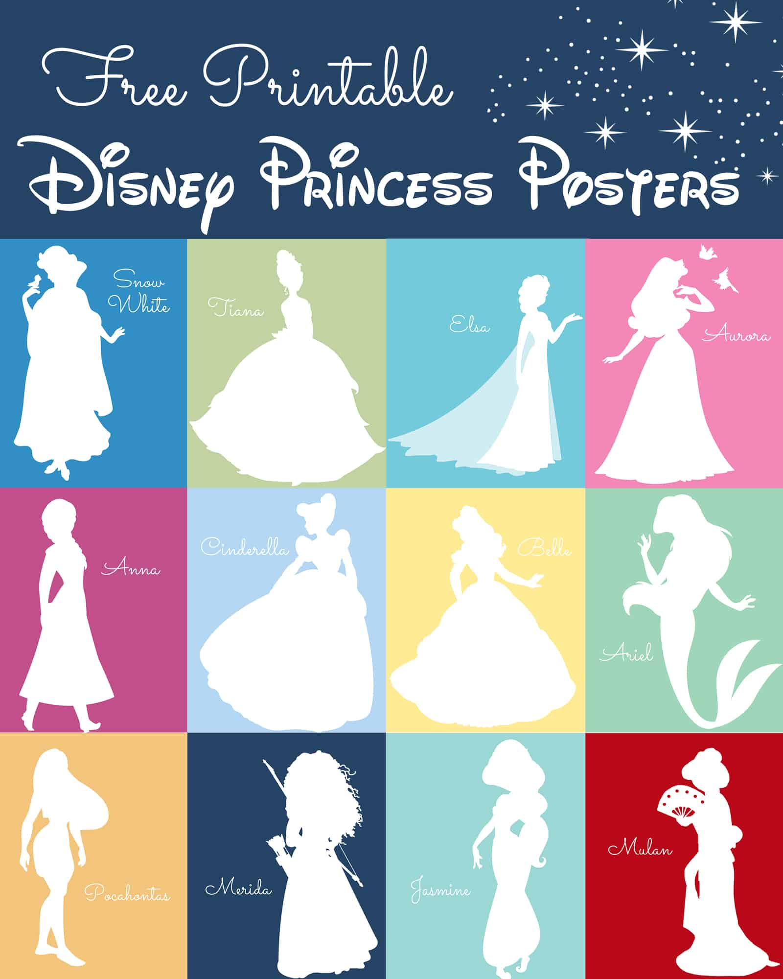 Free disney princess silhouette prints for Party wall letter template