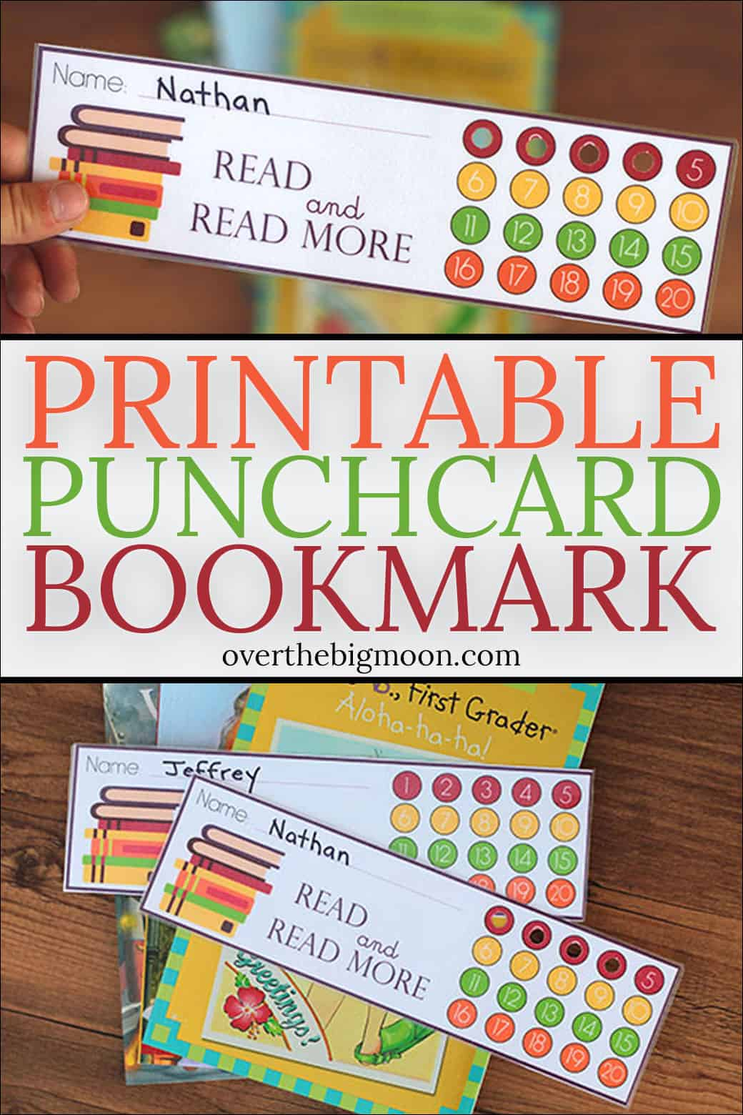These Printable Punchcard Bookmark are the perfect way to help your kids track their reading and motivate them to reach their reading goals! From overthebigmoon.com!