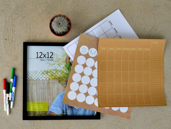 Easy Dry Erase Calendar