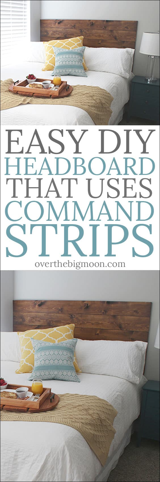 Easy DIY Headboard that uses Command Strips to hang it! This is perfect for renters or kids rooms!! From overthebigmoon.com!