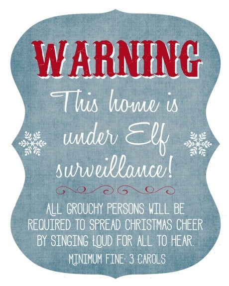 Elf Surveillance Printable and Pillow Tutorial! This is such a fun decoration for the Holiday season to let everyone know that the Elf is around! www.overthebigmoon.com!