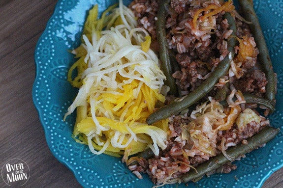 Beef and Cabbage Dinner in a Pumpkin - such a fun fall or Halloween tradition!  This recipe is a very non-traditional version of dinner in a pumpkin!  From www.overthebigmoon.com!