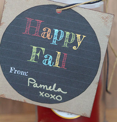 Happy Fall Gift Tag Printable - added to a candle for a housewarming gift here. But, could be used for any fun gift! From www.overthebigmoon.com!