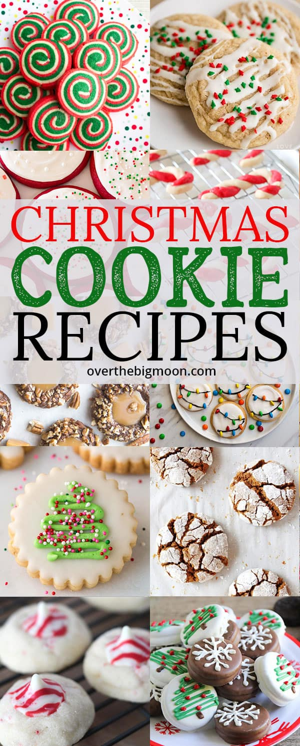 50+ Christmas Cookie Recipes perfect for Santa! There's traditional, peppermint cookies, sugar cookies, gingerbread cookies, eggnog cookies and more! From overthebigmoon.com!