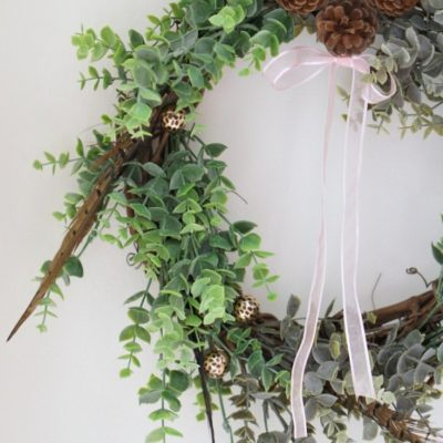 Eucalyptus and Feather Winter Wreath tutorial (made from dollar store materials)!!!