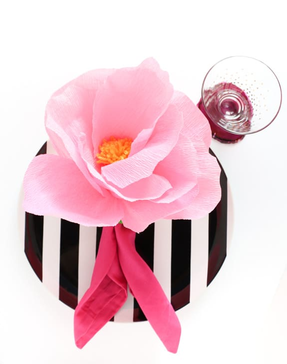 Crepe Paper Flower Napkin Rings Over The Big Moon