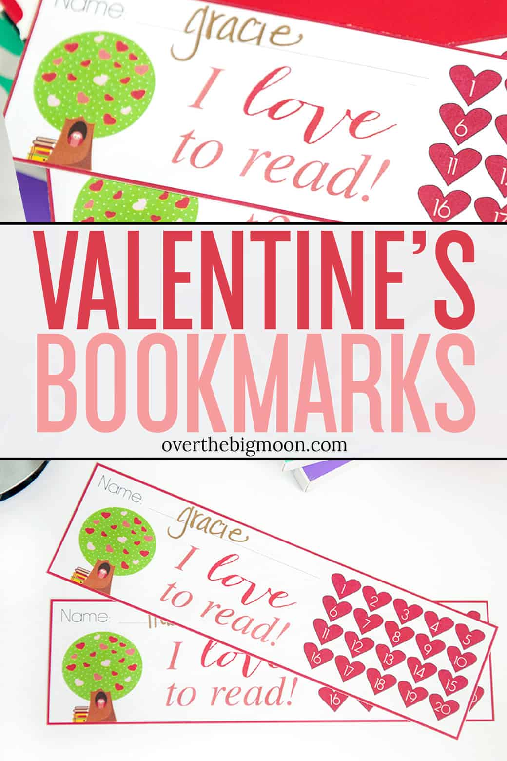These Valentine's Day Bookmark Punchcard are the perfect way to help your kids track their reading and help motivate them to learn to love to read! The basic heart designed can really be used all year though! From overthebigmoon.com!
