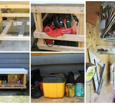 bThis DIY workbench has it all: tool storage, worksurface, and the ability to move easily! Make your own with this tutorial!