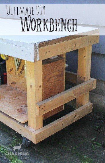 This DIY workbench has it all: tool storage, worksurface, and the ability to move easily! Make your own with this tutorial!
