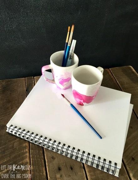 DIY Watercolor Mugs