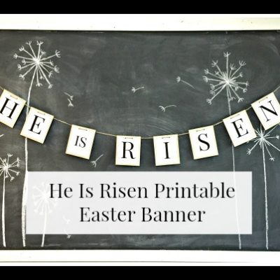 He is Risen Printable Easter Banner! Love the simplicity of this bunting! Found at www.overthebigmoon.com!
