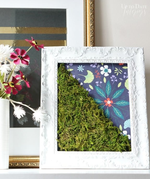 Spring  Moss Art Tutorial - this is such a fun and affordable way to spice up your Spring Home Decor! From www.overthebigmoon.com!