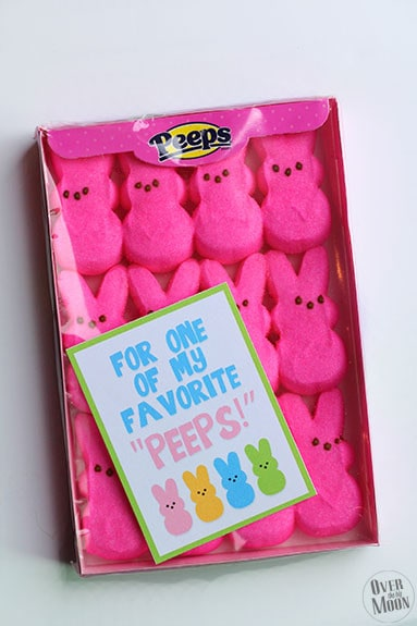 Peeps Gift Tag Printable - such a fun simple printable gift tag for Peeps candy! From www.overthebigmoon.com!