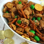 St. Patrick's Day Chex Mix treat! Recipe at www.overthebigmoon.com!