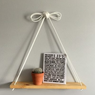 DIY Hanging Shelf Tutorial! This DIY literally only takes 1/2 hour! Check it out at www.overthebigmoon.com!