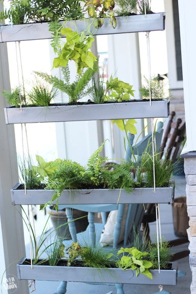 DIY Hanging Gutter Planter - such a fun, easy and inexpensive project that even a beginner can make! | www.overthebigmoon.com