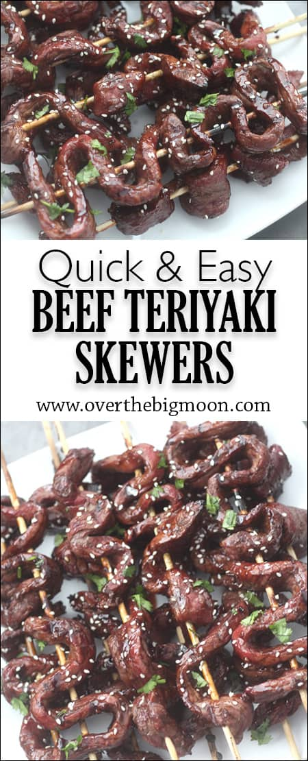 Quick and Easy Beef Teriyaki Skewers - this is for sure a no fail dinner that everyone loves! Promise! From www.overthebigmoon.com!