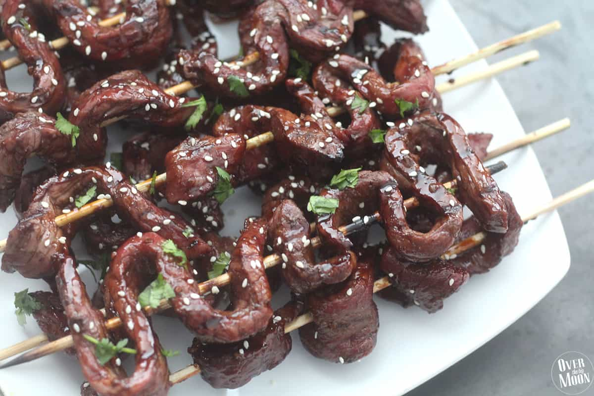 Quick & Easy Beef Teriyaki Skewers - Over The Big Moon