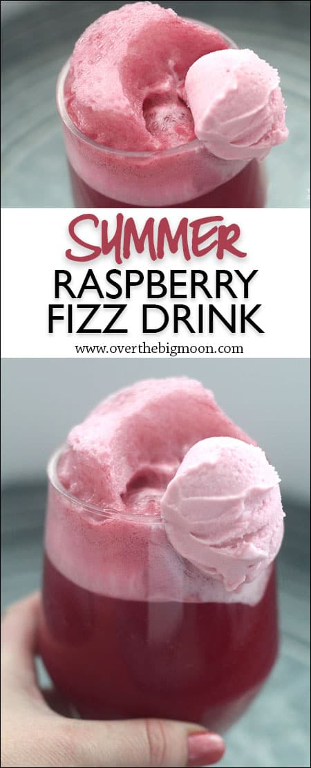 Raspberry Fizz Drink - this drink is full of flavor! and sorbet is the perfect addition to the drink! From www.overthebigmoon.com!