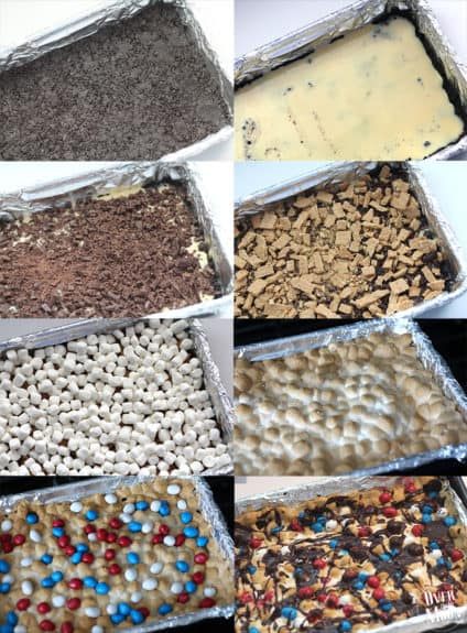 4th of July S'mores Bars! This layered dessert is so tasty and perfect for summer! From www.overthebigmoon.com!