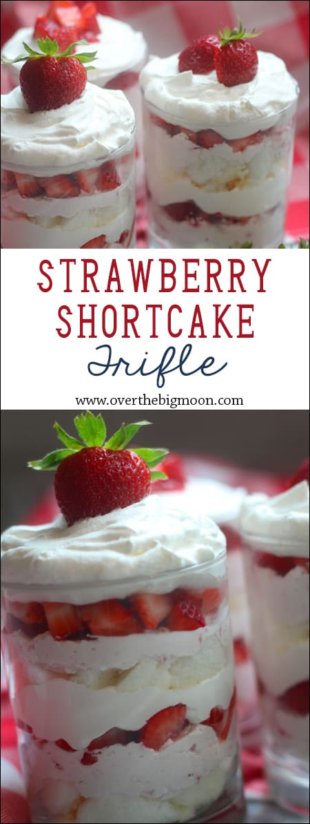 Strawberry Shortcake Cream Cheese Trifle - such a light and yummy tasting dessert! From www.overthebigmoon.com!