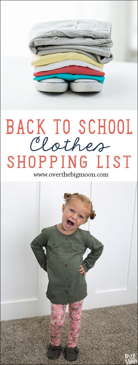 Find out what you really need to buy with this handy back-to-school shopping list. Clothes Your kids' needs will vary according to their age, gender, and how frequently you do laundry, as well as whether they wear uniforms in school.