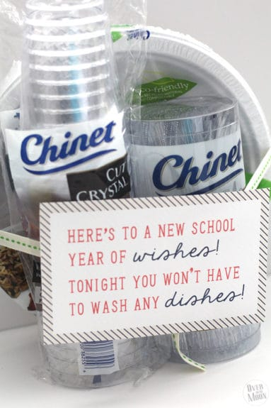 Back to School Teacher Gift Idea - disposable tableware is genius! Teachers are crazy the first week of school! Plus, there is a free printable!   www.overthebigmoon.com