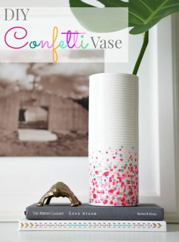 diy dollar store confetti vase