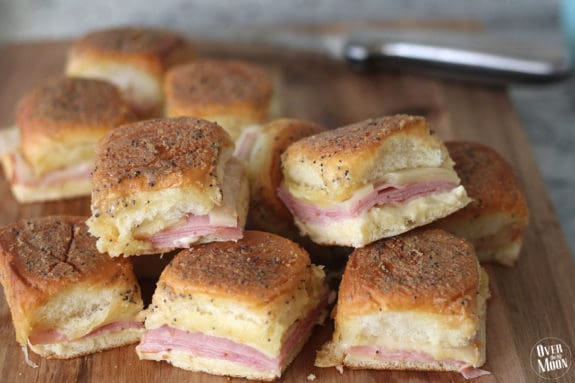 These Ham & Swiss Sliders are too yummy! Perfect for a large lunch get together!