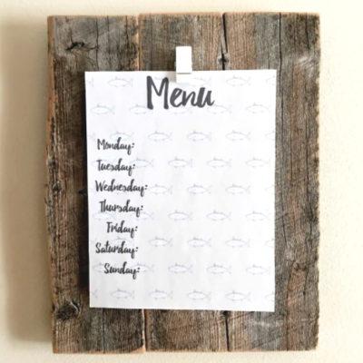 DIY Menu Board - such an easy way to display your printed weekly menu!