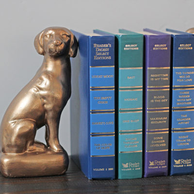 DIY Bronze Bookends using Metallic Paint! From www.overthebigmoon.com!