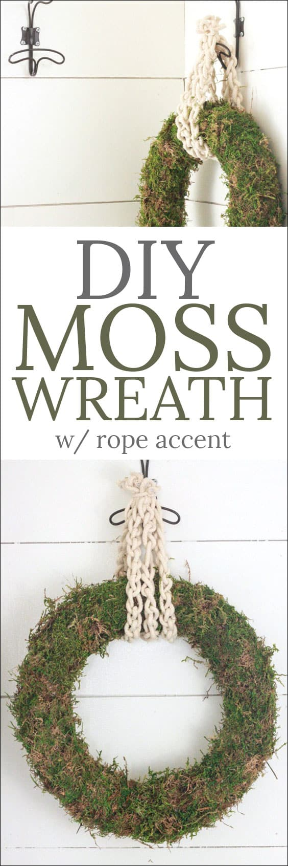 DIY Moss Wreath - this simple tutorial is for crafters of all levels! This wreath is perfect for a year around decoration for a fraction of the cost of what you'd pay for one in the store! From overthebigmoon.com!