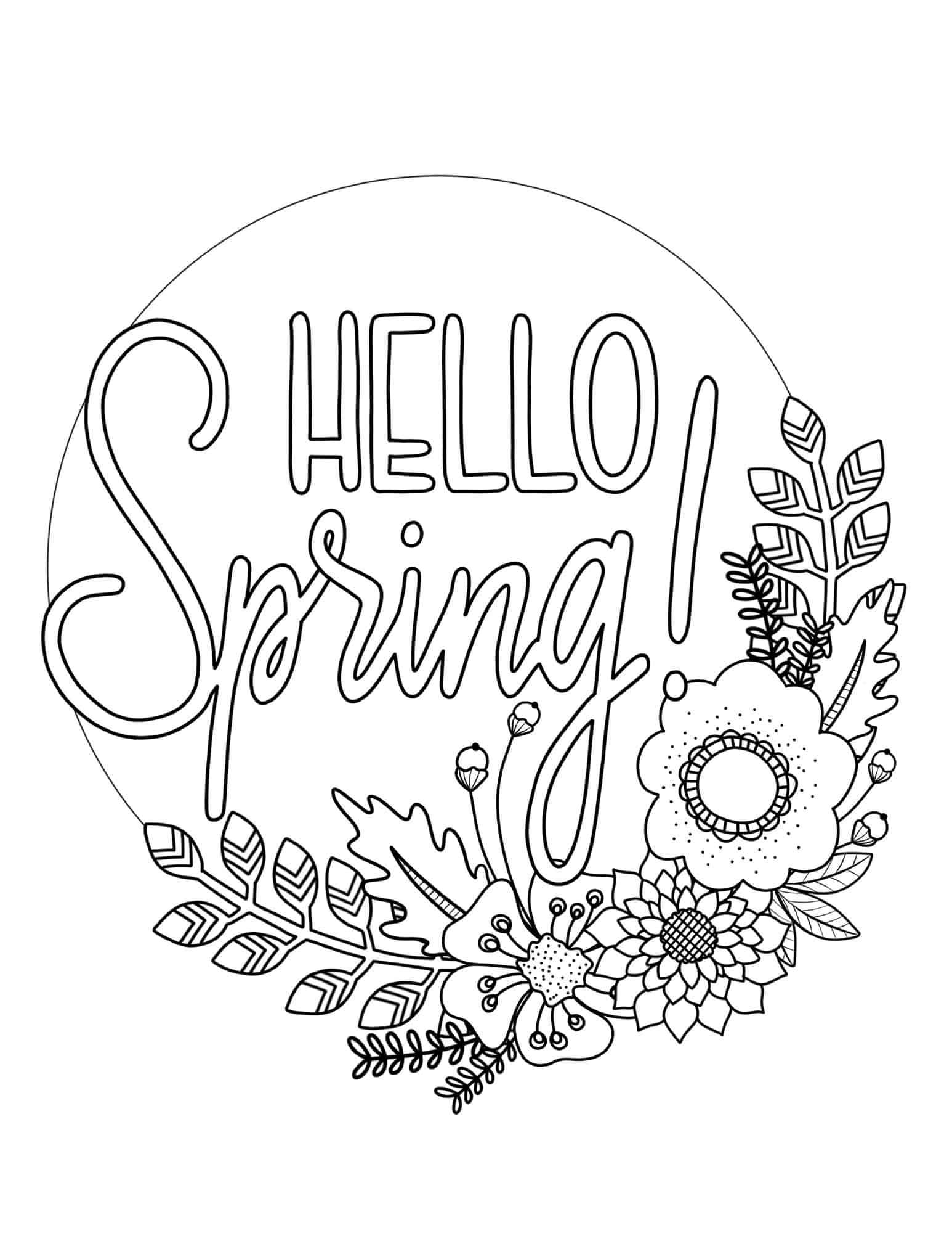 Sprint coloring pages ~ Printable Spring Coloring Page - Over The Big Moon