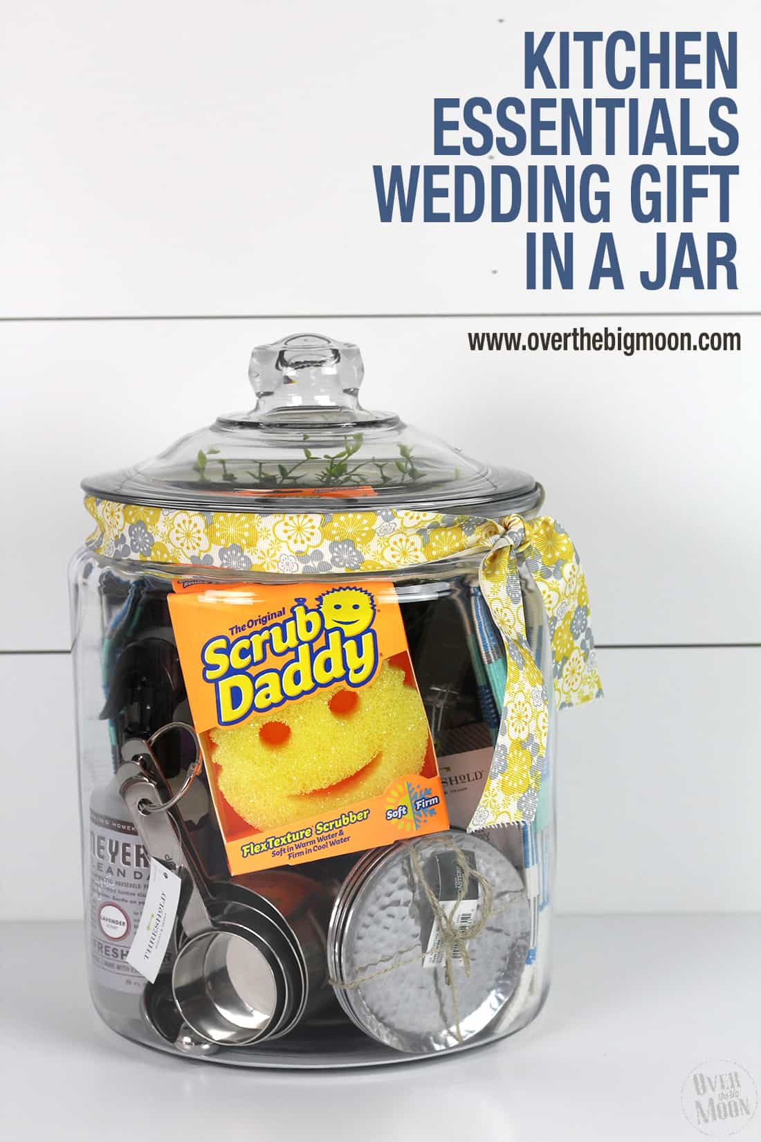 Super fun Kitchen Essentials Gift in a Jar Idea from www.overthebigmoon.com!