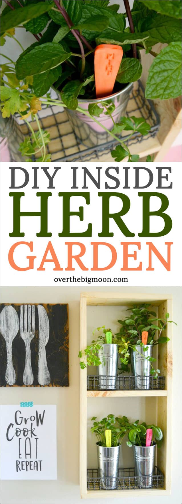 DIY Inside Herb Garden - come check out this easy tutorial! It adds such a great feel to your garden or dining room!! Tutorial at overthebigmoon.com!