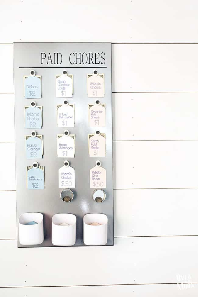 DIY Kids Paid Chore Chart - this literally changed my life! Now my kids can buy their own summer treats, etc! From www.overthebigmoon.com!