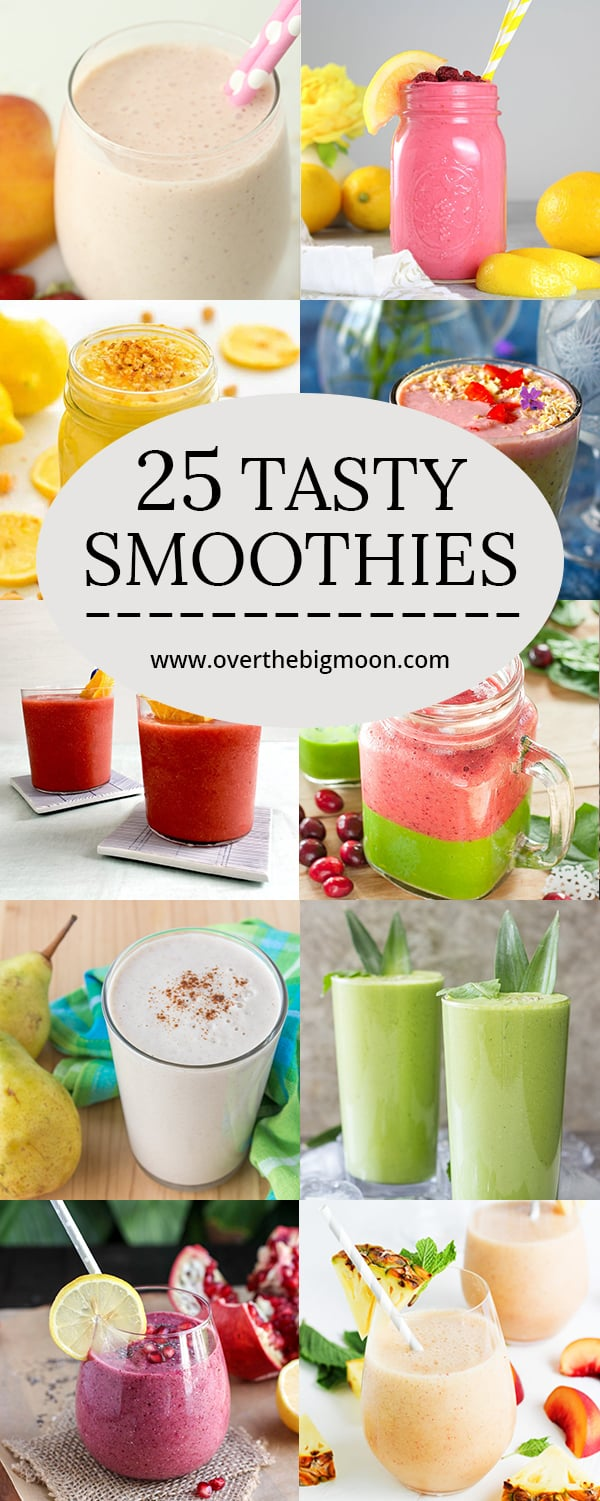 25 Tasty Smoothie Recipes perfect for summer! This list covers them all! | www.overthebigmoon.com