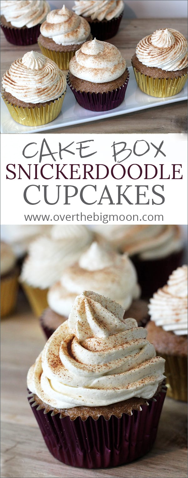 These Cake Box Snickerdoodle Cupcakes with Cool Whip Frosting are a crowd favorite! Plus, they are made using a Cake Box mix! | www.overthebigmoon.com