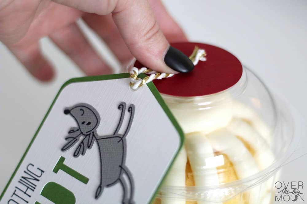 Super easy and tasty teacher gift idea! Make this easy gift tag with your Cricut! From www.overthebigmoon.com!