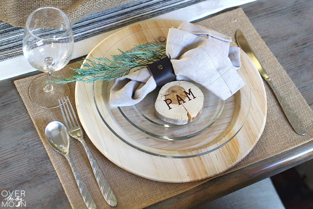 DIY for the Leather Napkin Ring - with a link to this Elegant Farmhouse Thanksgiving Tablescape! From www.overthebigmoon.com