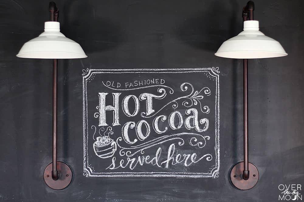 Hand Lettered Chalkboard Art w/ Hot Cocoa Bar | www.overthebigmoon.com!