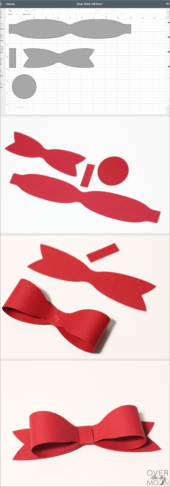 Easy Cricut Design Space File for Red Bow! From www.overthebigmoon.com
