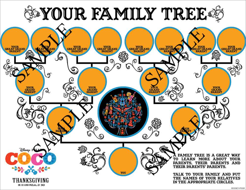 Disney Pixar Coco Family Tree Printable and other Coco printables and activities! From overthebigmoon.com!