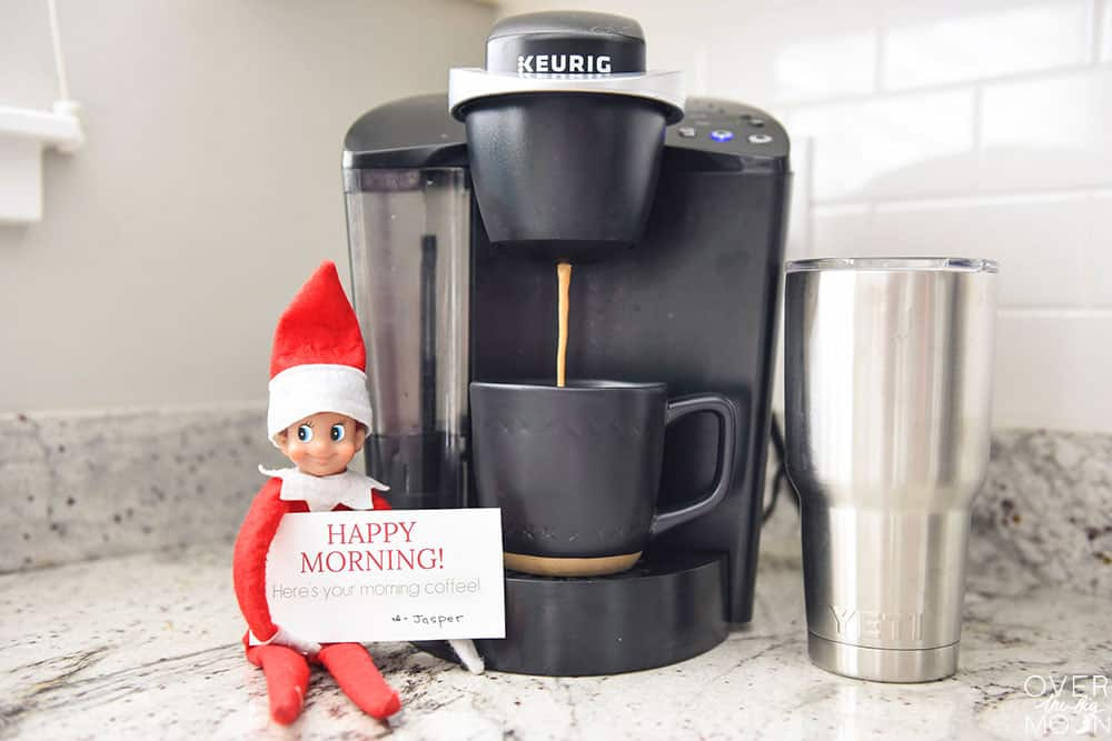 Jasper the Elf getting mom and dad their morning coffee! What a helpful little guy! From overthebigmoon.com!