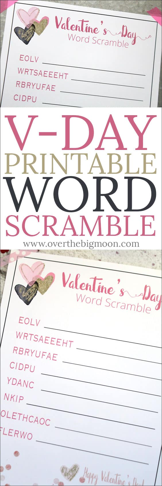 Valentineu0027s Day Printable Word Scramble For Kids! From Overthebigmoon.com!